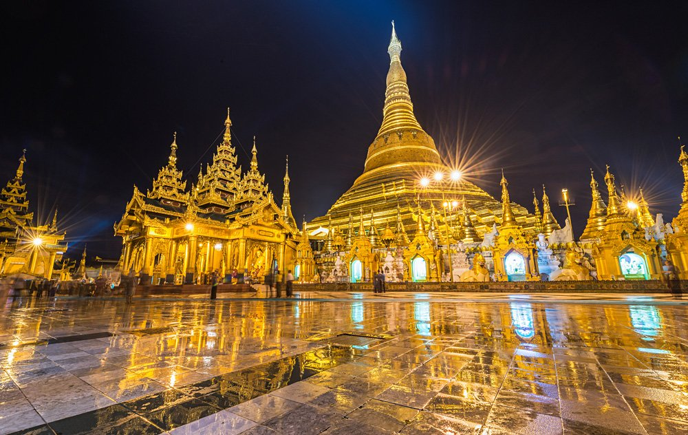 Shwedagon Golden Pagoda at night, Yangon, Myanmar