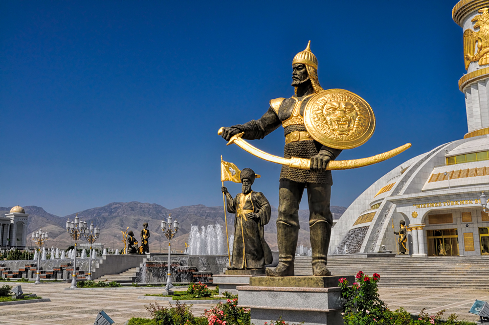 Statues of Historic Leaders at Independence Monument in Ashgabat, Turkmenistan