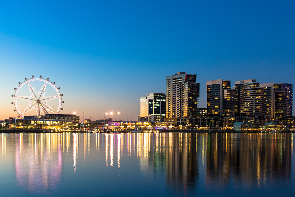 The Docklands waterfront of Melbourne at night, Victoria, Australia
