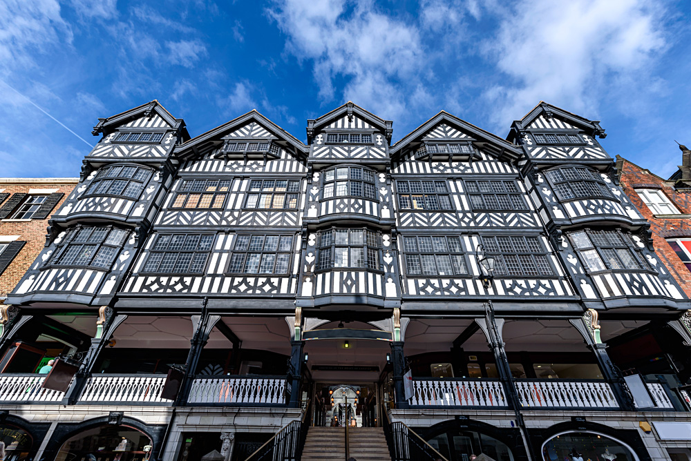 Tudor style architecture of The Rows in Chester, Cheshire, England, UK (United Kingdom)