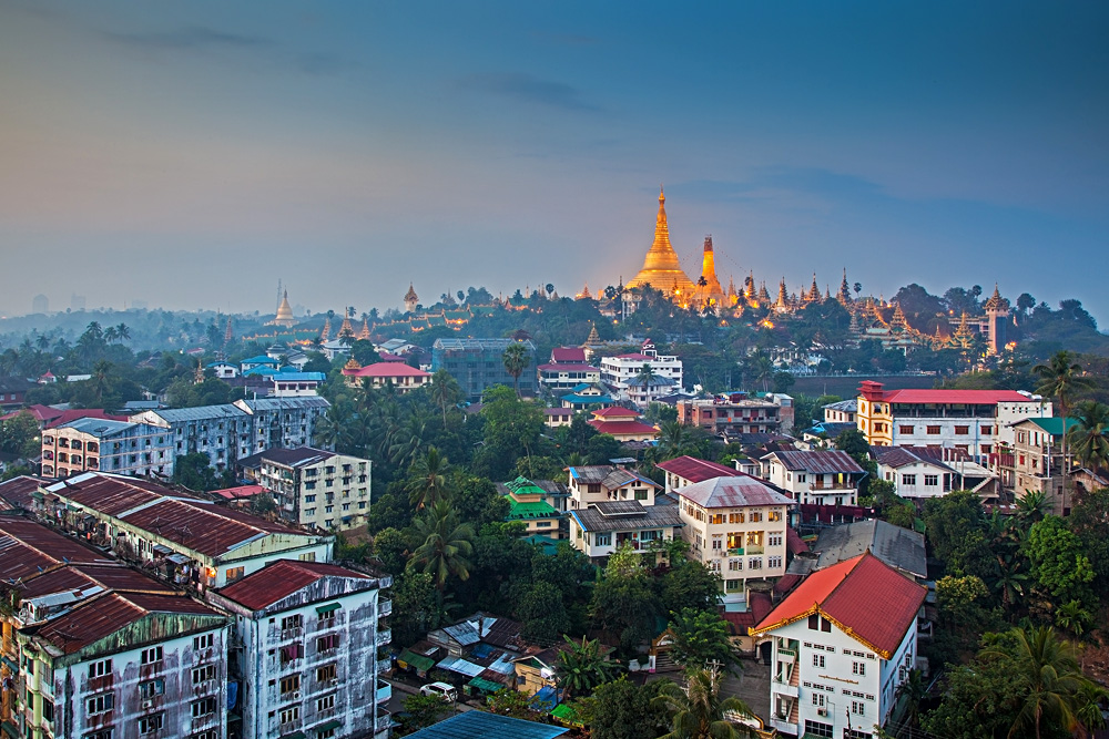 View at dawn of the Shwedagon Pagoda and Yangon, Myanmar