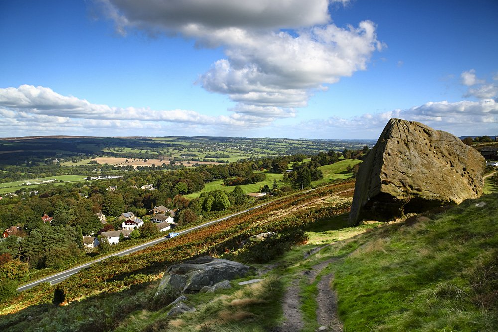 View of Ilkley from the Yorkshire Moors, Yorkshire, England, UK (United Kingdom)