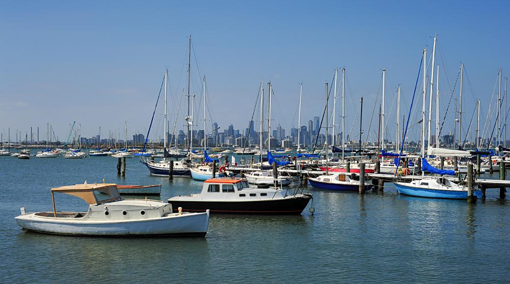 View of Melbourne skyline from Williamstown, Victoria, Australia