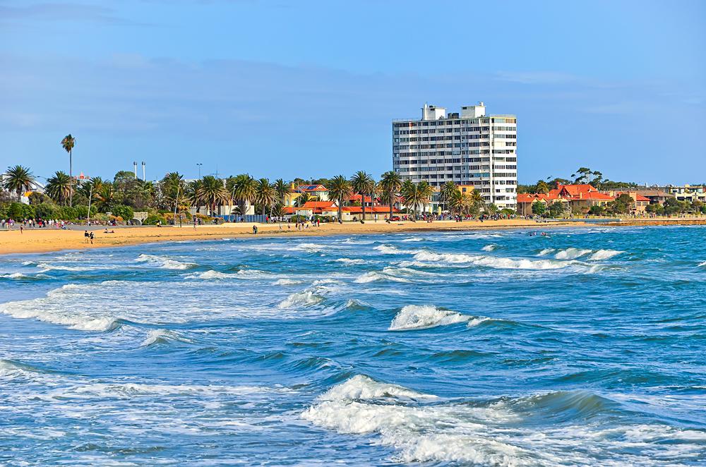 View of St Kilda Beach in Melbourne, Victoria, Australia