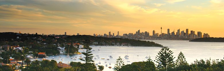 View of Sydney Skyline from Watsons Bay at Sunset, New South Wales, Australia