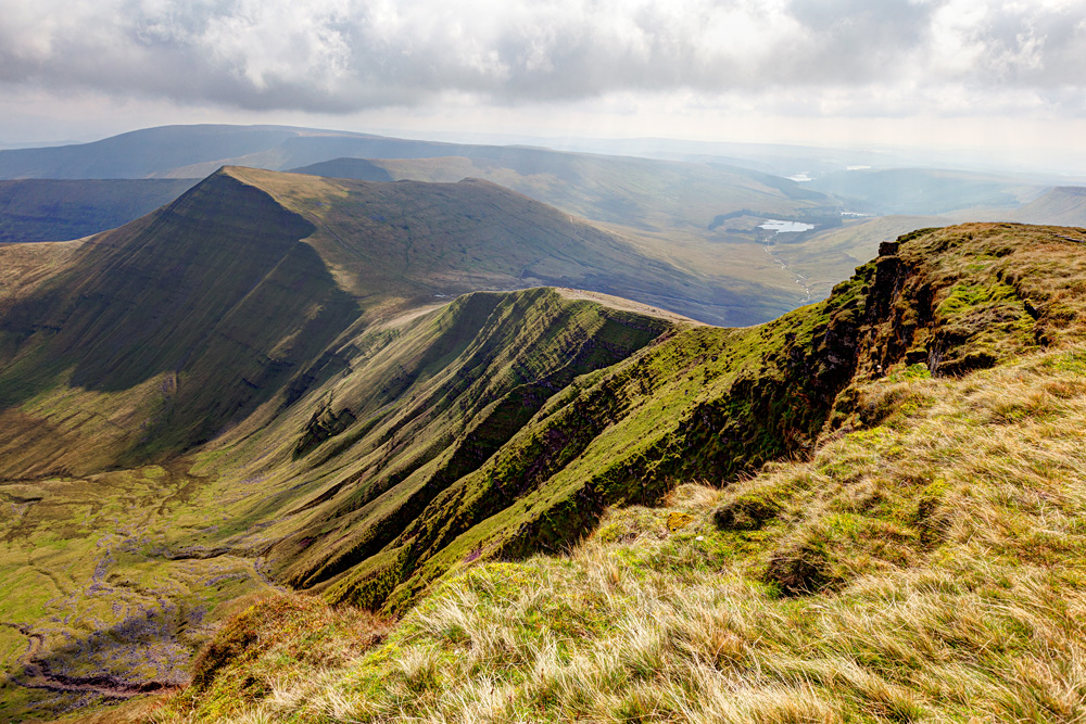 View of the Brecon Beacons National Park from the peak of Pen Y Fan, Wales, UK (United Kingdom)