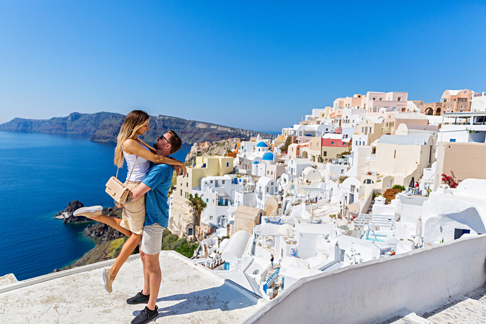 Young Couple Embracing on the Island of Santorini, Greece