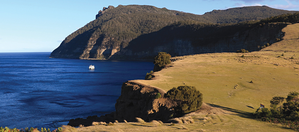 Coral Expeditions Discoverer at Maria Island, Tasmania, Australia