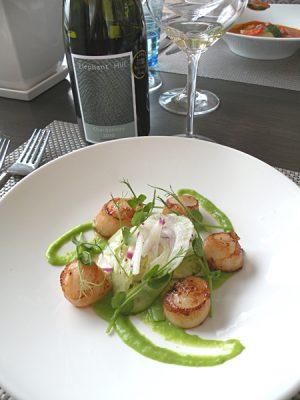 Janie Robinson - Scallops at Elephant Hill Winery, North Island, New Zealand