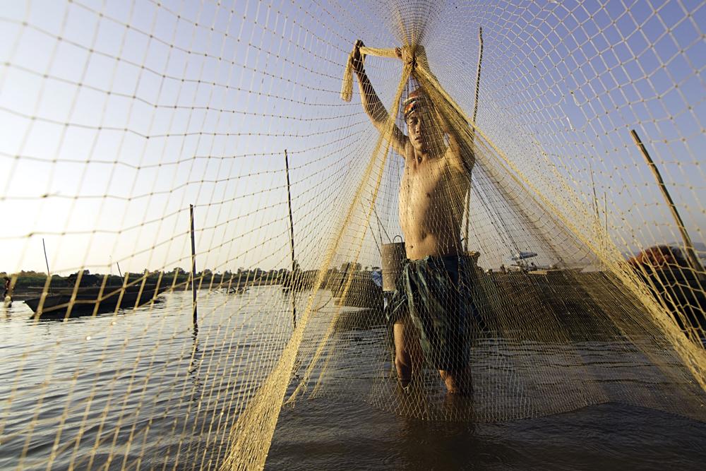 Local Fisherman, Mekong River, Laos Thailand