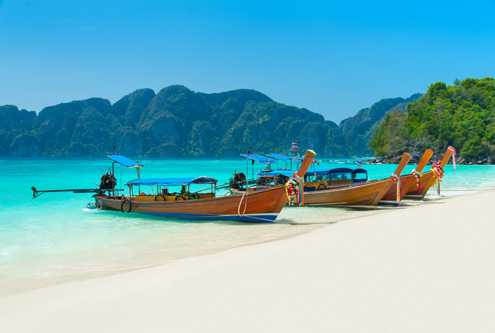 Longtail boats at Long Beach or Had Yao beach, Phi Phi Island, Krabi Province, Thailand