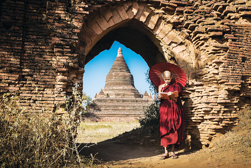 Monk Reading a Book in Old Bagan, Myanmar