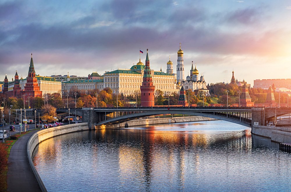 Morning sun over the Moscow Kremlin and Moskva River, Russia