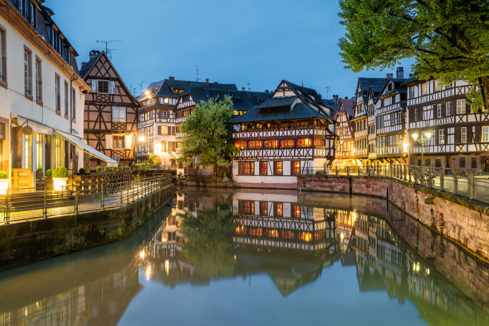 Petite-France historic area in the centre of Strasbourg, France