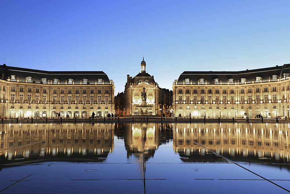 Reflection of Place De La Bourse in Bordeaux, France
