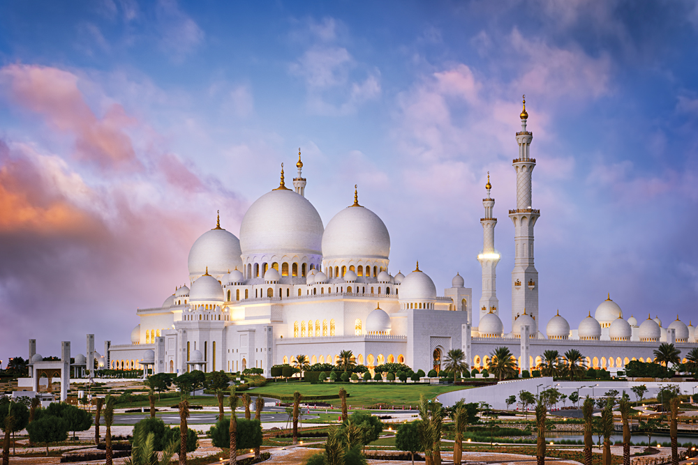 Sheikh Zayed Grand Mosque at Dusk, Abu-Dhabi, United Arab Emirates (UAE)