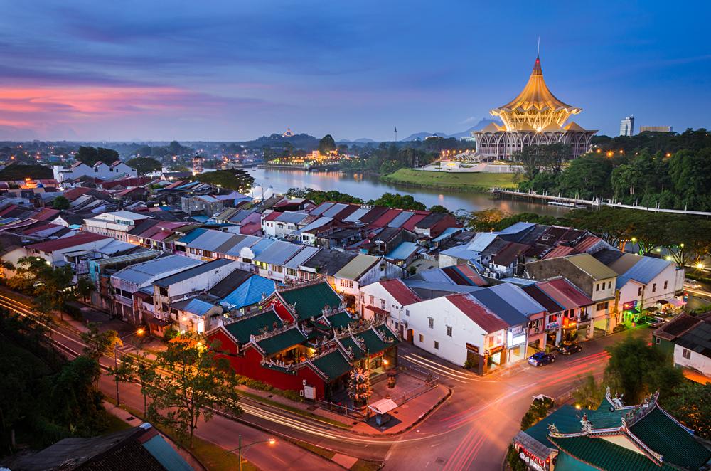 Sunset View At Kuching City, Capital of Sarawak, Borneo, Malaysia