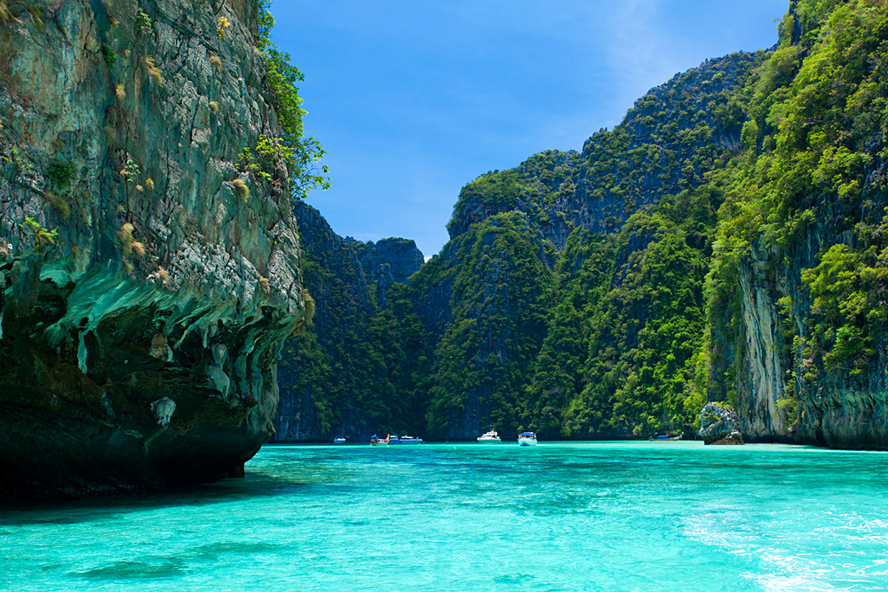 Tall Cliffs at Phi Phi Leh, Phi Phi Island, Krabi Province, Thailand