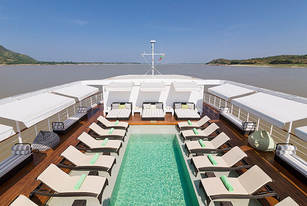 The Strand Cruises - Swimming Pool in the Upper Deck, Irrawaddy River, Myanmar