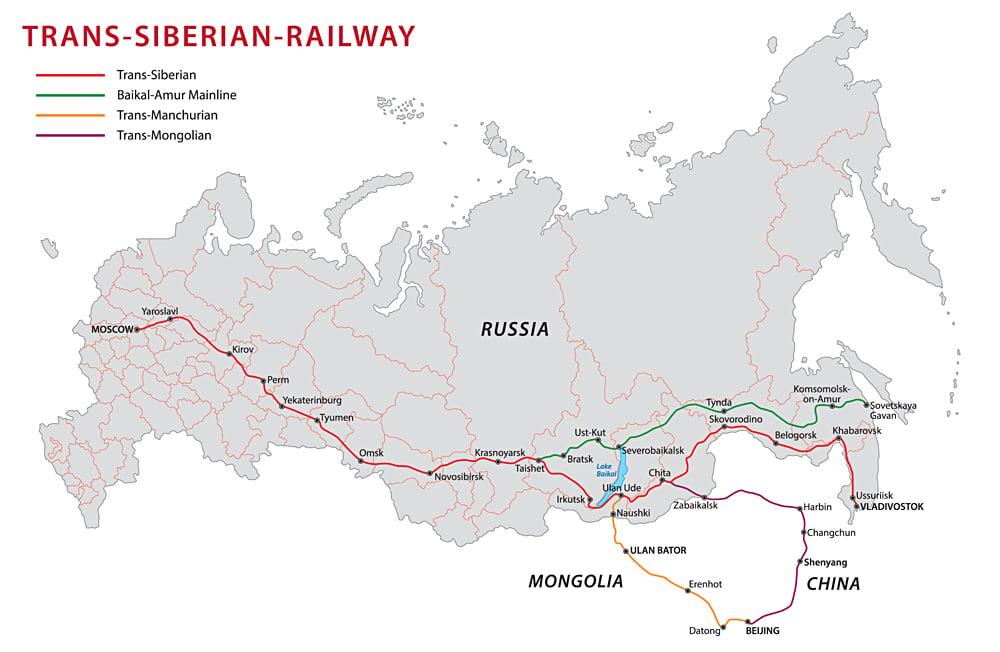 Trans Siberian Railway Map, Russia