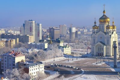 Winter morning frost with view of The Transfiguration Cathedral in Khabarovsk, Russia