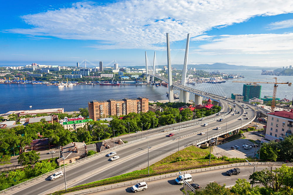 Zolotoy Golden Bridge across the Zolotoy Rog (Golden Horn) in Vladivostok, Russia