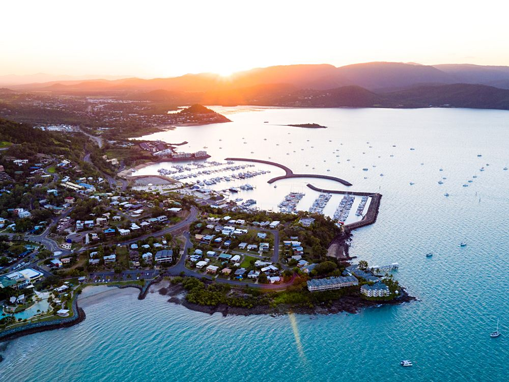 Aerial View of Airlie Beach, Whitsundays, Queensland, Australia