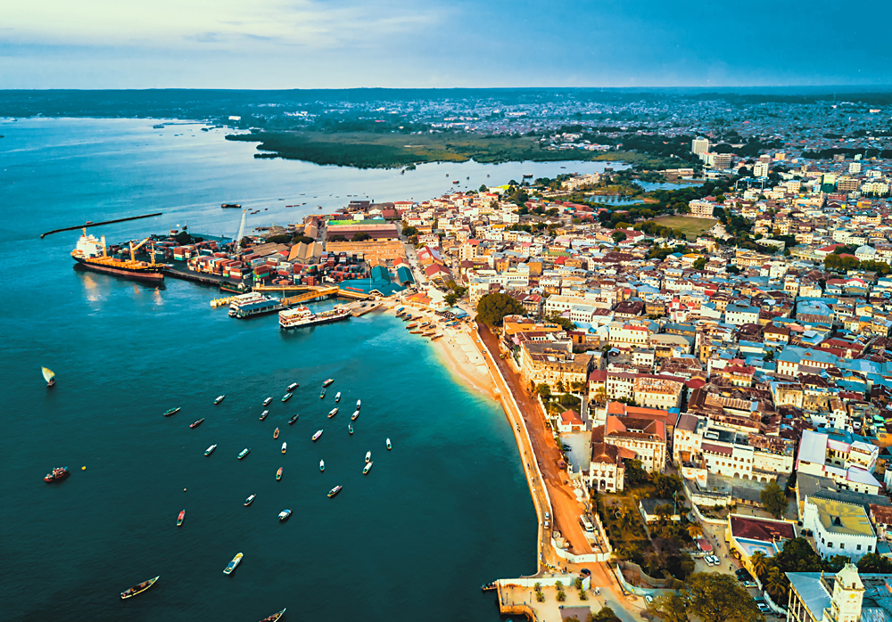 Aerial View of Stone Town, Zanzibar, Tanzania - Cropped