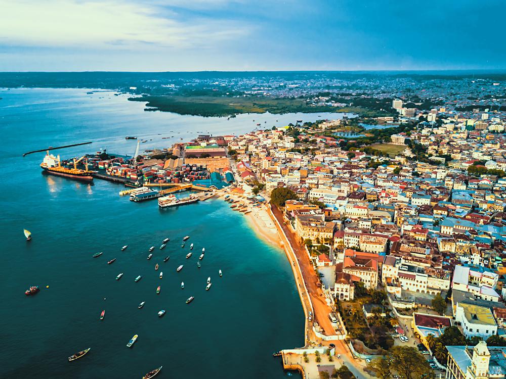 Aerial View of Stone Town, Zanzibar, Tanzania