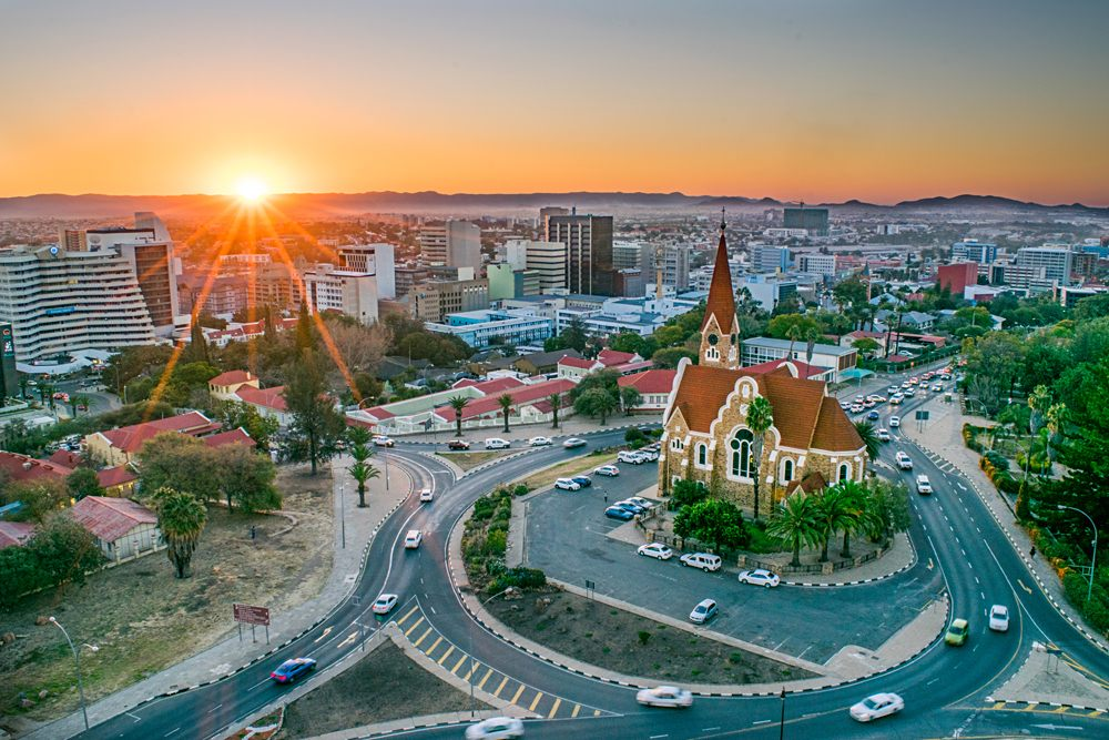 Aerial View of Windhoek at Sunset, Namibia