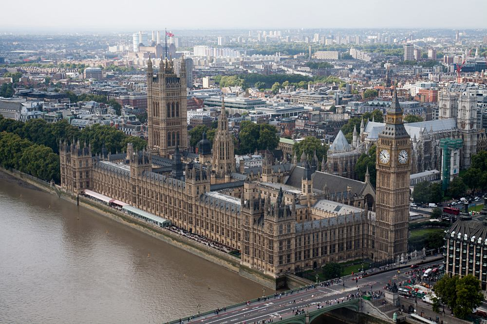 Aerial view of Houses of Parliament in London, England, UK (United Kingdom)