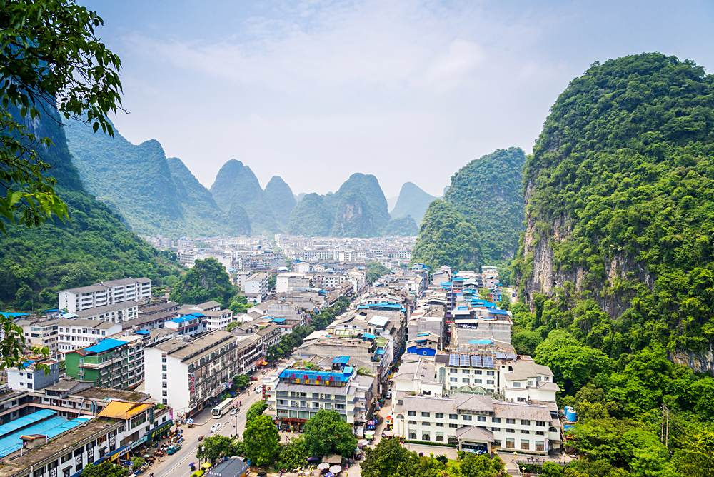 Aerial view of city of Yangshuo, Guilin, China