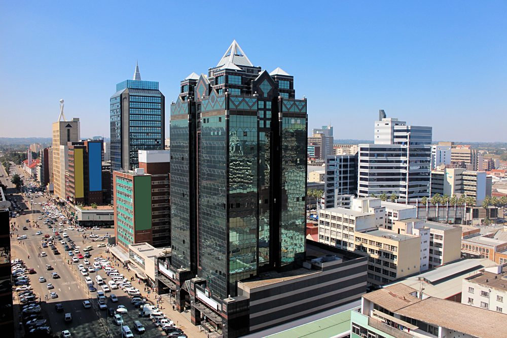 Aerial view on the main street of Harare, Zimbabwe