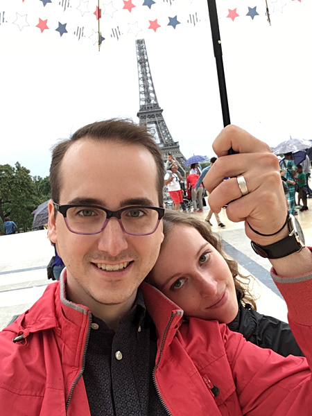 Aren Bergstrom - Aren and Rachel on Honeymoon in front of Eiffel Tower, Paris, France