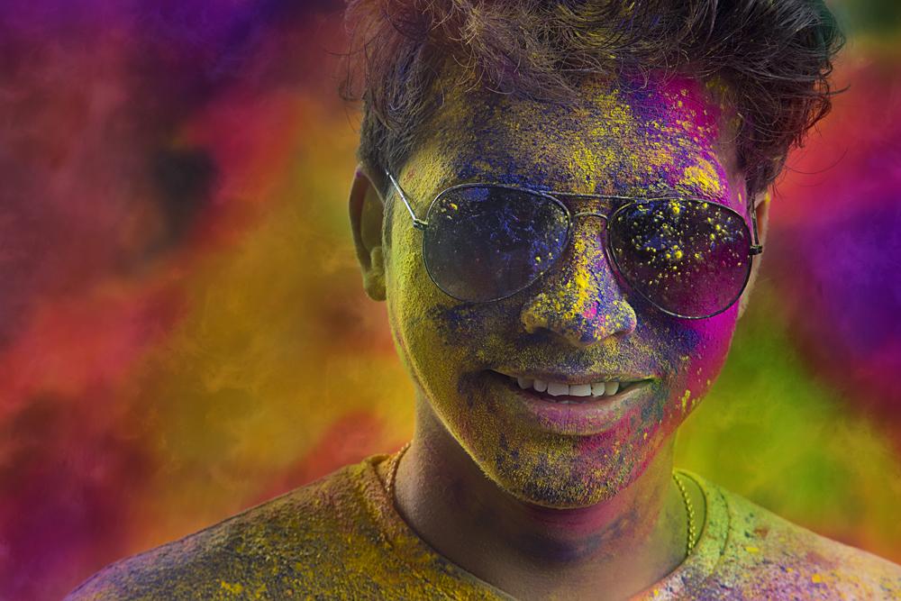 Close Up of Colourful Man Celebrating Holi, India