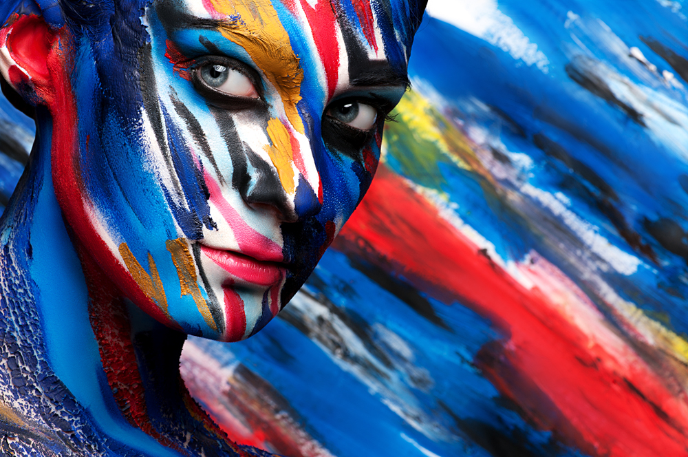 Colourful body paint art on Woman