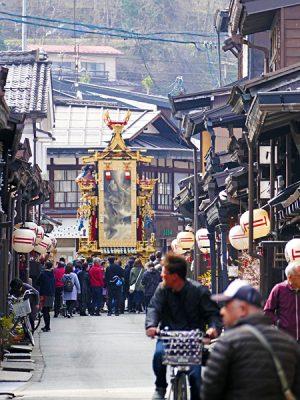 Float Travelling Through the Street at Takayama Spring Festival, Takayama, Japan