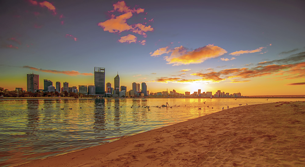 Golden Sunrise View of Perth Skyline from Swan River, Western Australia, Australia