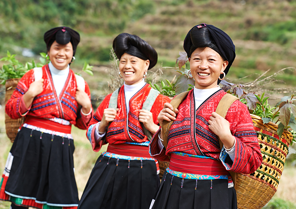 Group of happy chinese minority woman Yao in traditional dresses, Village of Longshen, China