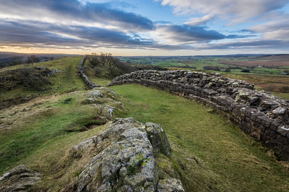 Hadrian's Wall high up on the Whin Sill in Northumberland at Walltown Crags, England, UK (United Kingdom)