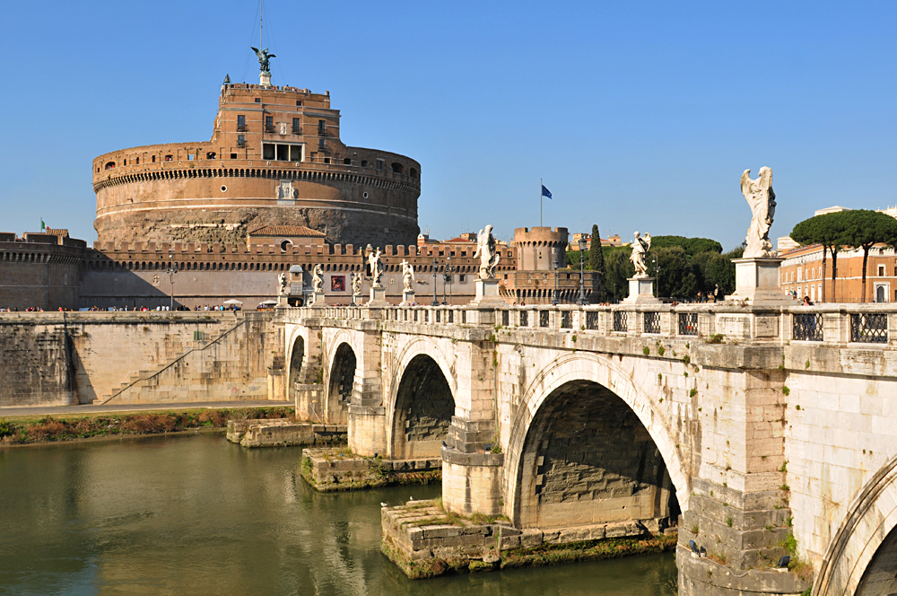 Historical buildings and bridge by the river Tibre in Prati district of Rome, Italy