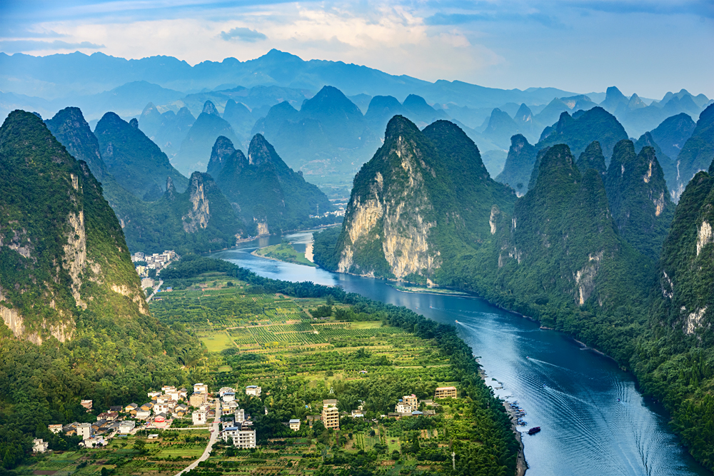 Landscape of Guilin, Li River and Karst mountains located near Xingping, Yangshuo County, Guangxi Province, China