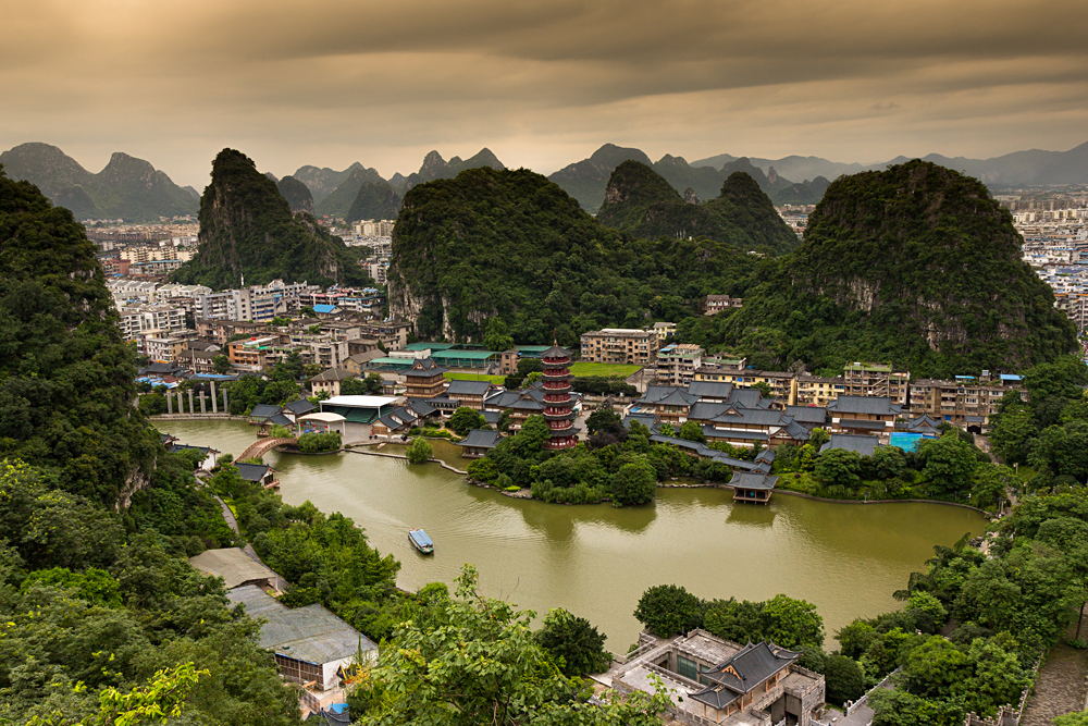 Lookout over Guilin City at Sunrise in South Province, South China