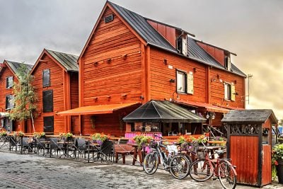 Old wooden houses in the old centre around the Harbour of Oulu, Finland