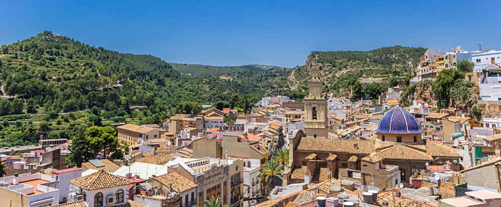 Panorama of the old town of Bunol and the surrounding mountains, Spain