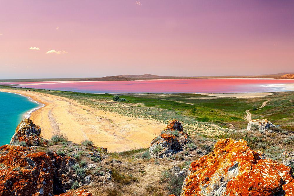 Panoramic view at Pink Lake at sunset, Western Australia, Australia