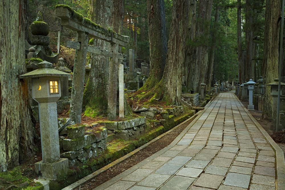 Path through the Okunoin Ancient Buddhist Cemetery in Koyasan, Japan