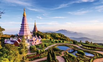 Royal Twin Pagodas on top of Doi Inthanon Mountain, Chiang Mai, Thailand