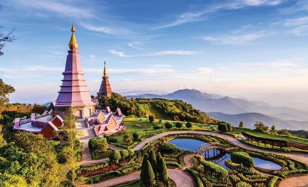 Royal Twin Pagodas on top of Doi Inthanon Mountain, Chiang Mai, Thailand