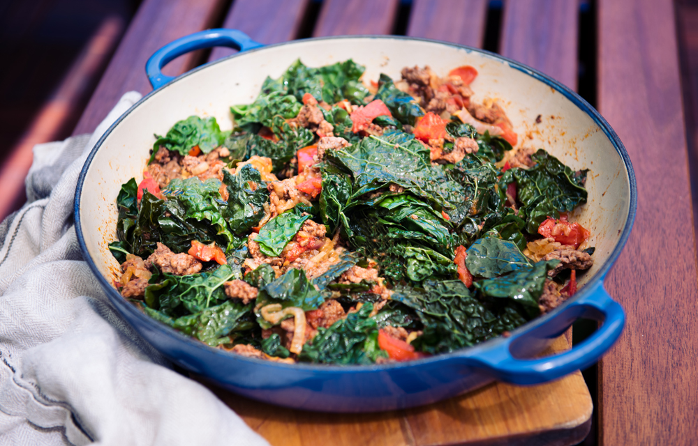 Sukuma Wiki - Kale Greens Wilted with Ground Beef and Tomatoes, Kenya